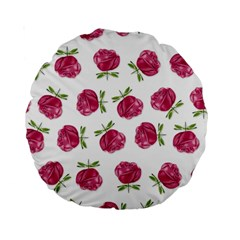 Pink Roses In Rows 15  Premium Round Cushion