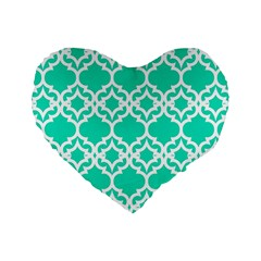 Lattice Stars In Teal 16  Premium Heart Shape Cushion