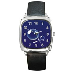 Bubbles 7 Square Leather Watch