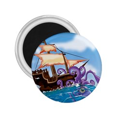 Pirate Ship Attacked By Giant Squid Cartoon 2 25  Button Magnet by NickGreenaway