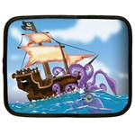 Pirate Ship Attacked By Giant Squid cartoon Netbook Sleeve (XL) Front