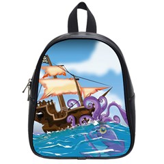Pirate Ship Attacked By Giant Squid Cartoon School Bag (small) by NickGreenaway