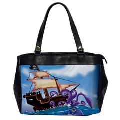 Pirate Ship Attacked By Giant Squid Cartoon Oversize Office Handbag (one Side)