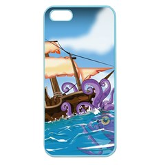Pirate Ship Attacked By Giant Squid Cartoon Apple Seamless Iphone 5 Case (color) by NickGreenaway