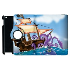 Pirate Ship Attacked By Giant Squid Cartoon Apple Ipad 2 Flip 360 Case by NickGreenaway