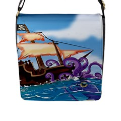 Pirate Ship Attacked By Giant Squid Cartoon Flap Closure Messenger Bag (large) by NickGreenaway