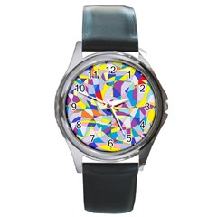 Fractured Facade Round Leather Watch (silver Rim) by StuffOrSomething