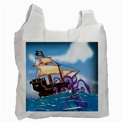 Pirate Ship Attacked By Giant Squid Cartoon  Recycle Bag (one Side) by NickGreenaway