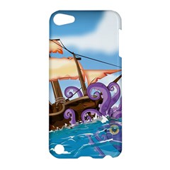 Pirate Ship Attacked By Giant Squid Cartoon  Apple Ipod Touch 5 Hardshell Case by NickGreenaway
