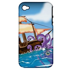 Pirate Ship Attacked By Giant Squid Cartoon  Apple Iphone 4/4s Hardshell Case (pc+silicone)