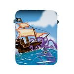 Pirate Ship Attacked By Giant Squid cartoon. Apple iPad Protective Sleeve Front