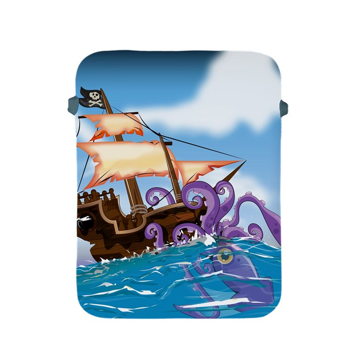 Pirate Ship Attacked By Giant Squid cartoon. Apple iPad Protective Sleeve