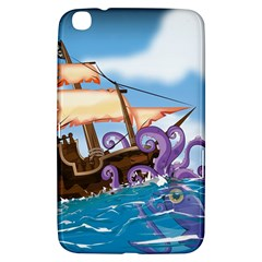 Pirate Ship Attacked By Giant Squid Cartoon  Samsung Galaxy Tab 3 (8 ) T3100 Hardshell Case  by NickGreenaway