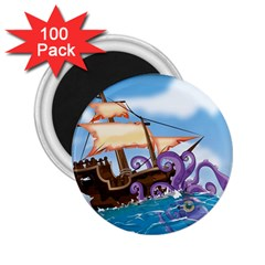 Pirate Ship Attacked By Giant Squid Cartoon  2 25  Button Magnet (100 Pack)