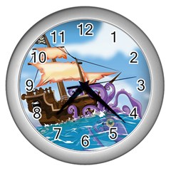 Pirate Ship Attacked By Giant Squid Cartoon  Wall Clock (silver)