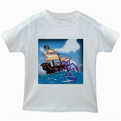 Pirate Ship Attacked By Giant Squid Cartoon  Kids T Shirt (white)