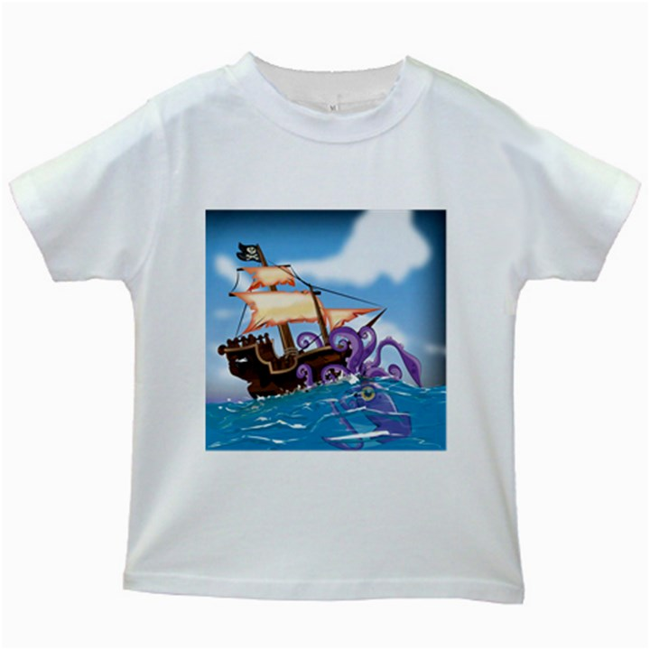Pirate Ship Attacked By Giant Squid cartoon. Kids T-shirt (White)