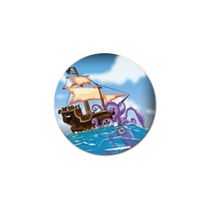 Pirate Ship Attacked By Giant Squid cartoon. Golf Ball Marker