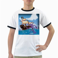 Pirate Ship Attacked By Giant Squid Cartoon  Men s Ringer T Shirt by NickGreenaway