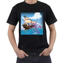 Pirate Ship Attacked By Giant Squid Cartoon  Men s Two Sided T Shirt (black)