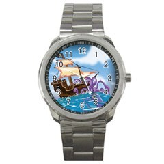 Pirate Ship Attacked By Giant Squid Cartoon  Sport Metal Watch by NickGreenaway