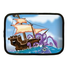 Pirate Ship Attacked By Giant Squid Cartoon  Netbook Sleeve (medium) by NickGreenaway