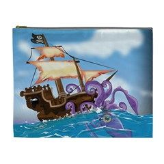 Pirate Ship Attacked By Giant Squid Cartoon  Cosmetic Bag (xl) by NickGreenaway