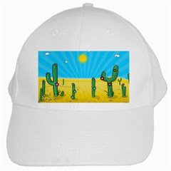 Cactus White Baseball Cap by NickGreenaway