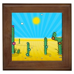 Cactus Framed Ceramic Tile by NickGreenaway