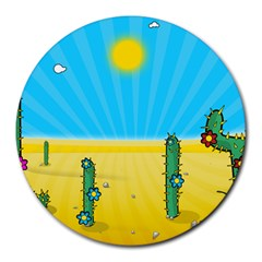 Cactus 8  Mouse Pad (round) by NickGreenaway