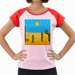 Cactus Women s Cap Sleeve T Shirt (colored) by NickGreenaway