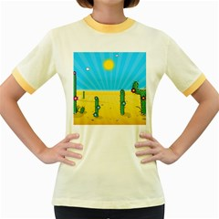Cactus Women s Ringer T Shirt (colored) by NickGreenaway