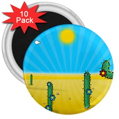 Cactus 3  Button Magnet (10 Pack) by NickGreenaway