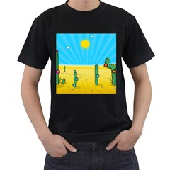 Cactus Men s Two Sided T Shirt (black) by NickGreenaway