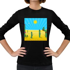 Cactus Women s Long Sleeve T Shirt (dark Colored) by NickGreenaway