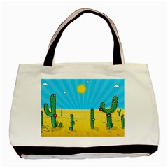 Cactus Twin Sided Black Tote Bag