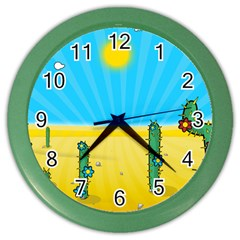 Cactus Wall Clock (color) by NickGreenaway