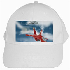 America Jet Fighter Air Force White Baseball Cap by NickGreenaway