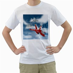 America Jet Fighter Air Force Men s Two Sided T Shirt (white) by NickGreenaway