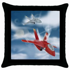 America Jet Fighter Air Force Black Throw Pillow Case