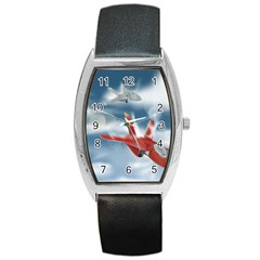 America Jet Fighter Air Force Tonneau Leather Watch