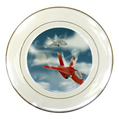 America Jet Fighter Air Force Porcelain Display Plate by NickGreenaway