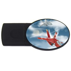 America Jet Fighter Air Force 4gb Usb Flash Drive (oval) by NickGreenaway