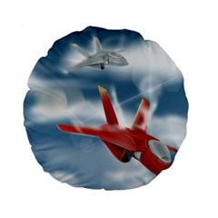 America Jet Fighter Air Force 15  Premium Round Cushion