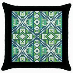 Green Pattern Black Throw Pillow Case by LoveModa