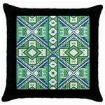 Green pattern Black Throw Pillow Case Front
