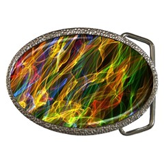 Colourful Flames  Belt Buckle (oval) by Colorfulart23