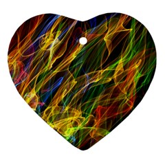 Colourful Flames  Heart Ornament (two Sides)