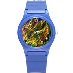 Colourful Flames  Plastic Sport Watch (small) by Colorfulart23