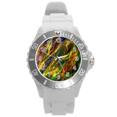 Colourful Flames  Plastic Sport Watch (large) by Colorfulart23